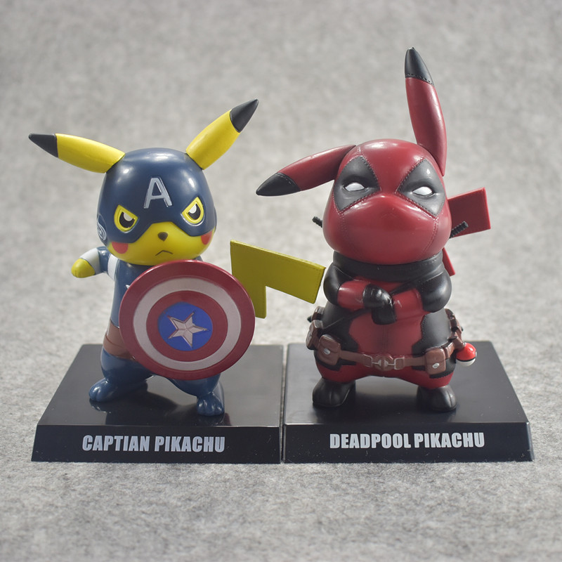 Marvel Avengers Star wars Deadpool Captain America Darth Vader Pikachu Cosplay Toys Mini PVC Figure 10cm Collectible Model Toy 22cm star wars darth vador mask 1 1 cosplay toy adults 2016 new real man wearing darth vader storm trooper helmet toys for kids