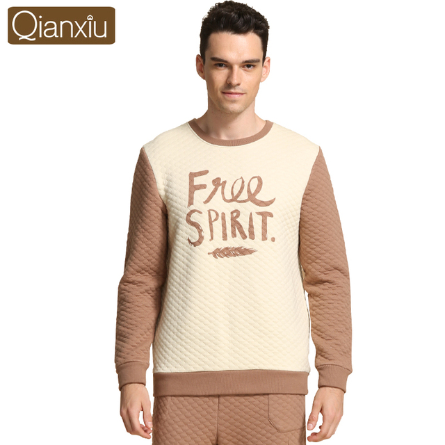 Qianxiu Thicken Pijama masculino Knitted Cotton Pajama Sets For Men Casual Letter Lounge Wear