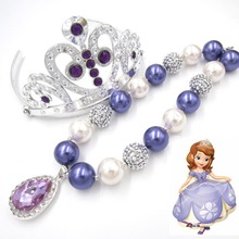 Princess Sofia Purple Amulet Pendant Kids Girl Chunky Bubblegum Necklace Tiara Crown Head Band Gift Birthday Party Dress Outfits