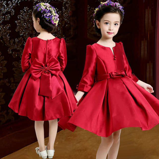 Chinese Style Girl Wedding Dress 2015 Autumn Long Sleeve Girls Red Bow Dresses Elegant Top Quality