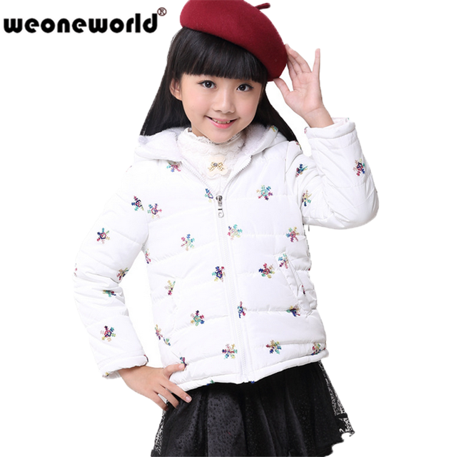 436a25557d7b WEONEWORLD White  Red Girls Down Coat Parkas with Snowflake Print ...