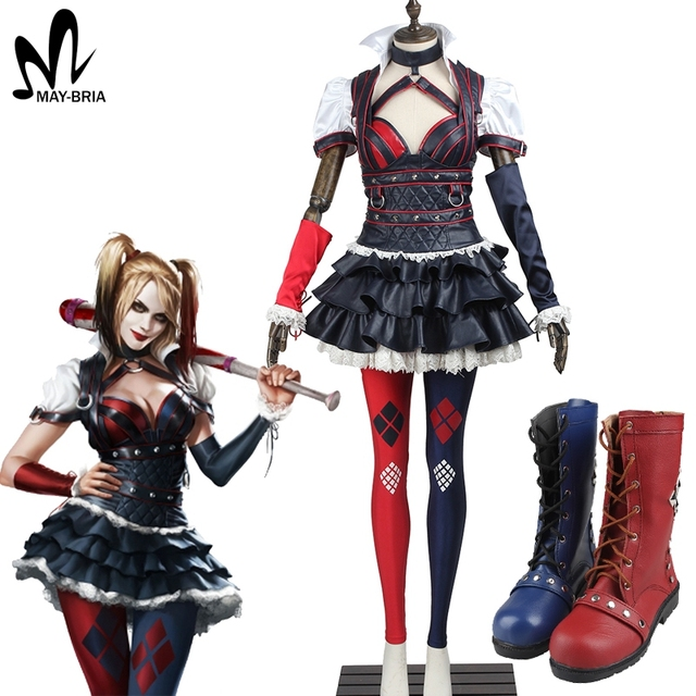 Comics Batman Arkham Asylum City Harley Quinn Cosplay Costume - C ...