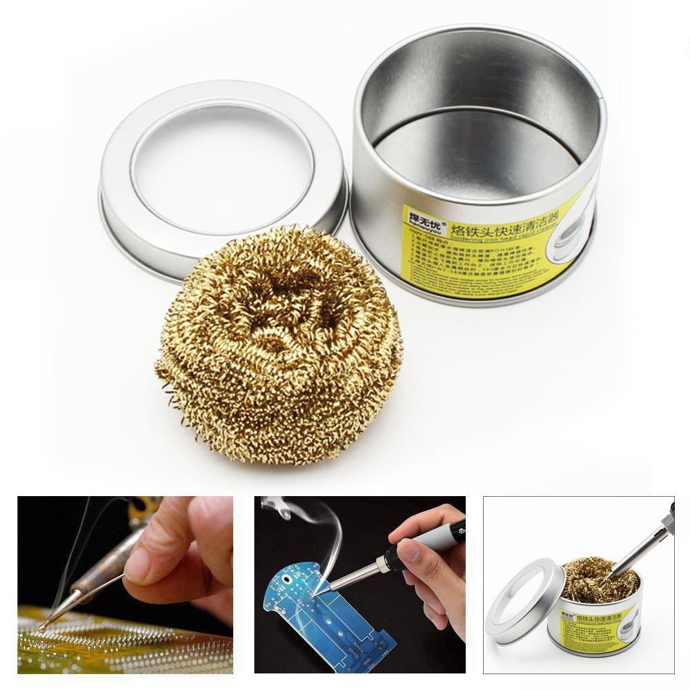 Electric Iron Cleaner Welding Soldering Solder Iron Tip Cleaner Remove Tin Cleaner Brass Wire Sponge Balls  1.43