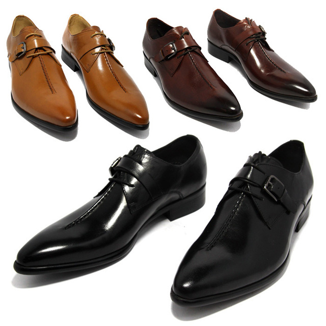 Large Size EUR45 Black / Yellow / Brown Tan Business Shoes Boys Prom Shoes Genuine Leather Dress Shoes Mens Wedding Shoes