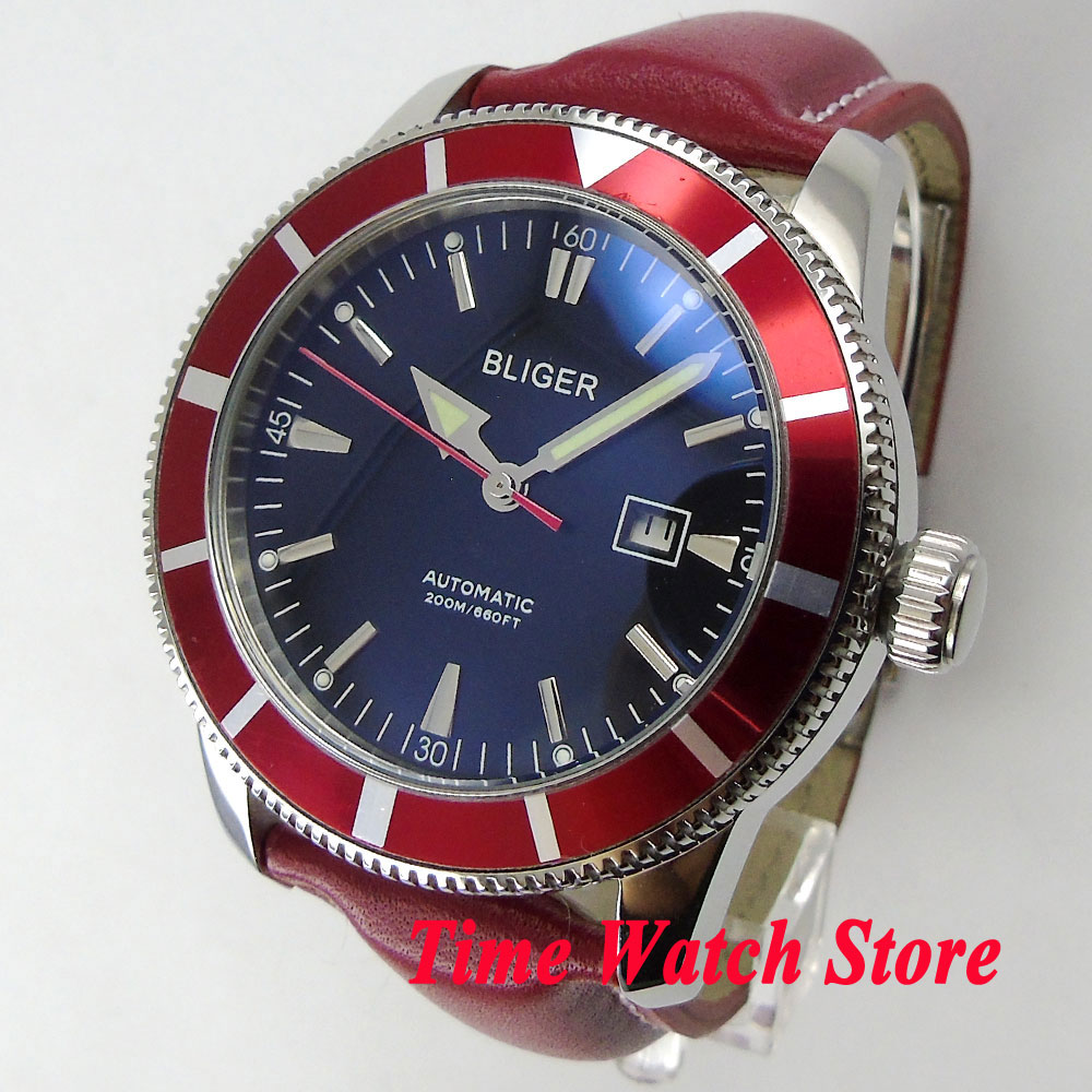 Bliger 46mm black dial luminous screw-in crown red bezel deployant clasp Automatic men's watch BL98 цена и фото