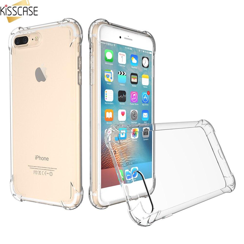 Kisscase прозрачного хрусталя анти Knock ТПУ чехол для телефона iPhone 6 6S плюс 7 7 Plus Samsung Galaxy S7 S7 edge прозрачный тонкий Чехол