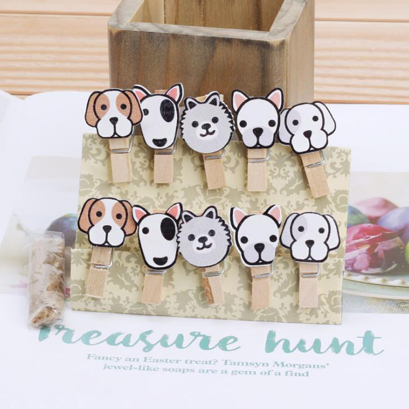 10 Pcs/pack Kawaii Mini Animal Dog Head Wooden Paper Clips Bookmark For Album Memo Message Photo Clip With Rope Stationery Gifts