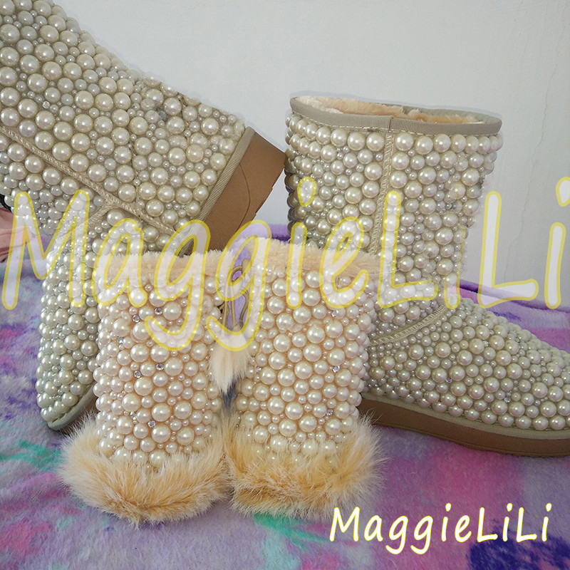 Pearls Handmade Rhinestone sequins crystal women's bling bling Snow Boots warm Shiny fashion Winter Shoes Pearl gloves tassels feather crystal rhineston snow boots woman winter luxury women s bling bling snow boots warm shiny fashion winter shoes
