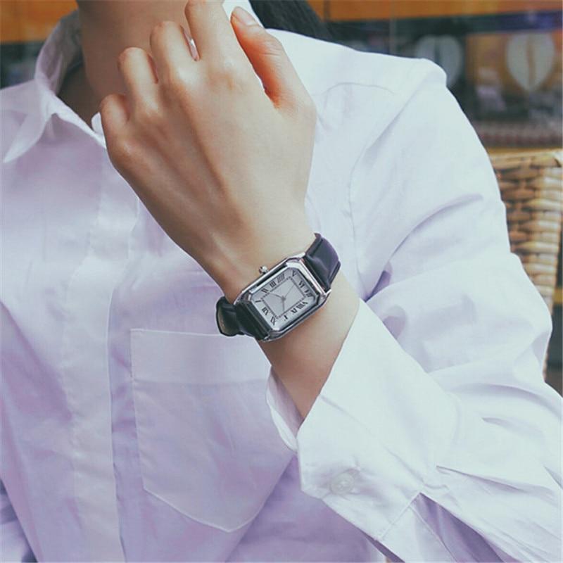 New Fashion Classical Style Rectangular Dial Watches Men Women Casual Ladies Business Men Dress Leather Quartz Wristwatch