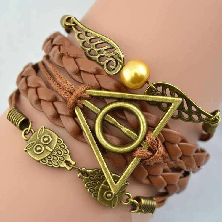Deathly Hallows Bracelet Leather Rope Gold Snitch Owl Wings Brown Vintage Retro Punk Jewelry Men Women Luna Lovegood Wholesale