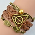 Мужской и женский браслет «Сова» Deathly, коричневый винтажный кожаный браслет в стиле ретро, луна, любовь