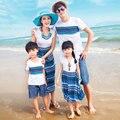 Auténticos Vestidos de Patrón de Onda de La Familia de Madre E Hija A Juego de Ropa de Verano de Algodón camiseta Family Look Beach Wear 2017