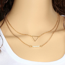 Wholesale Jewelry Casual Punk Metal Chains Bar Double Triangle lariat necklace Sliver Gold Necklace For Women stylish cut out triangle lariat necklace