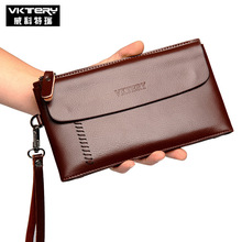 VKTERY Brand Men PU Leather Clutch Wallet Male Long Wallets Quality Men's Clutches Black Brown Color Large Capacity Zipper Purse