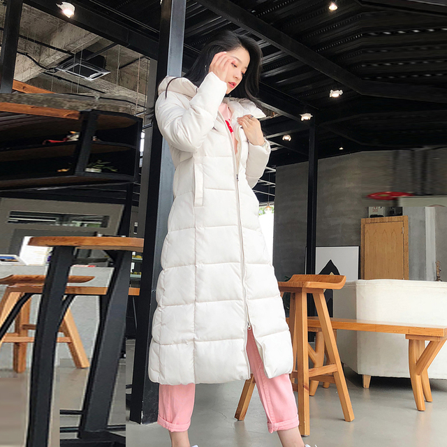 2019 Hiver femmes veste x-long à capuche coton rembourré Femme Manteau haute qualité vêtements d'extérieur chauds femmes Parka Manteau Femme Hiver 4
