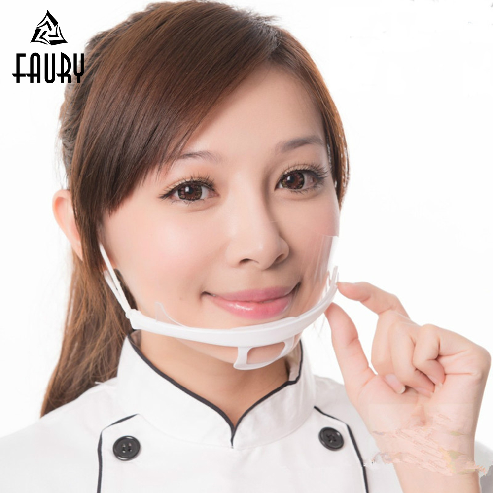 10 Pcs Transparent Mouth Mask Anti-fog Chef Waiter Waitress Restaurant Smile Food Service Beauty Salon Hotel Kitchen Work Mask