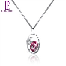 Lohaspie Solid 18K White Gold Genuine Rhodolite Garnet & Diamond Leaf Shape Pendant & Necklace For Women's Gemstone Fine Jewelry