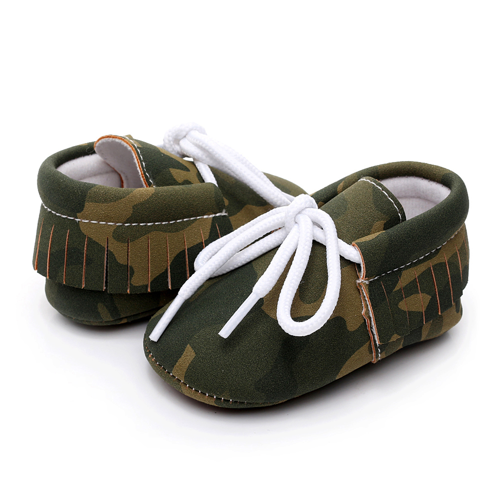 Baby Shoes Winter Newborns Footwear Fashion PU Leather Camouflage Anti-slip First Walker Green Blue Brown