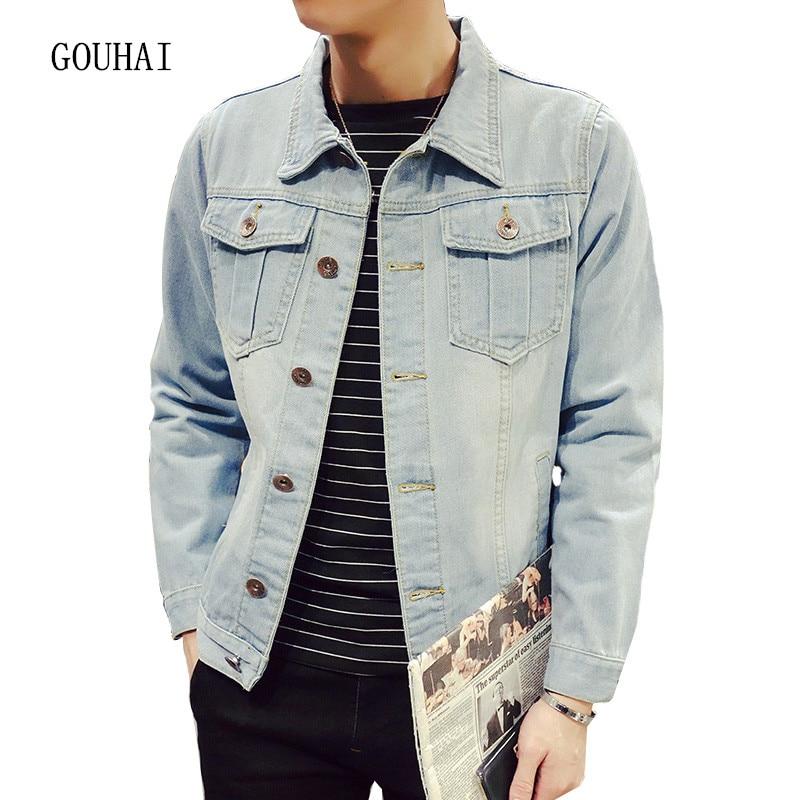 Solid Casual Slim Mens Denim Jacket Plus Size S 4XL 5XL Bomber Jacket Men High Quality