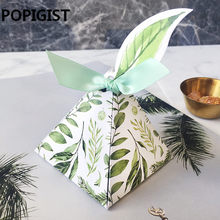 Wedding Favors Bomboniera birthday gift box Green forest Style Triangular Pyramid flower leaves Candy Boxes leaf tags+ribbon(China)