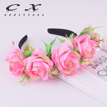 CXADDITIONS 2018 New arrival Rose Headband Women girls Newest Wedding Kids Party Floral flower crown Wreath hairband accessories