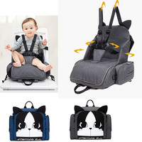 2 in 1 Baby Safety Seat Portable Baby Toodler Dining Chair Harness Booster Seat Multi function Mommy Bag Diaper Backpack Seat