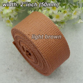 "Whosale Price 2""inch Width 50mm Good Quality Thick Cotton fabric Webbing Cotton Belt weaving Cotton strap for bag clothing Brown"