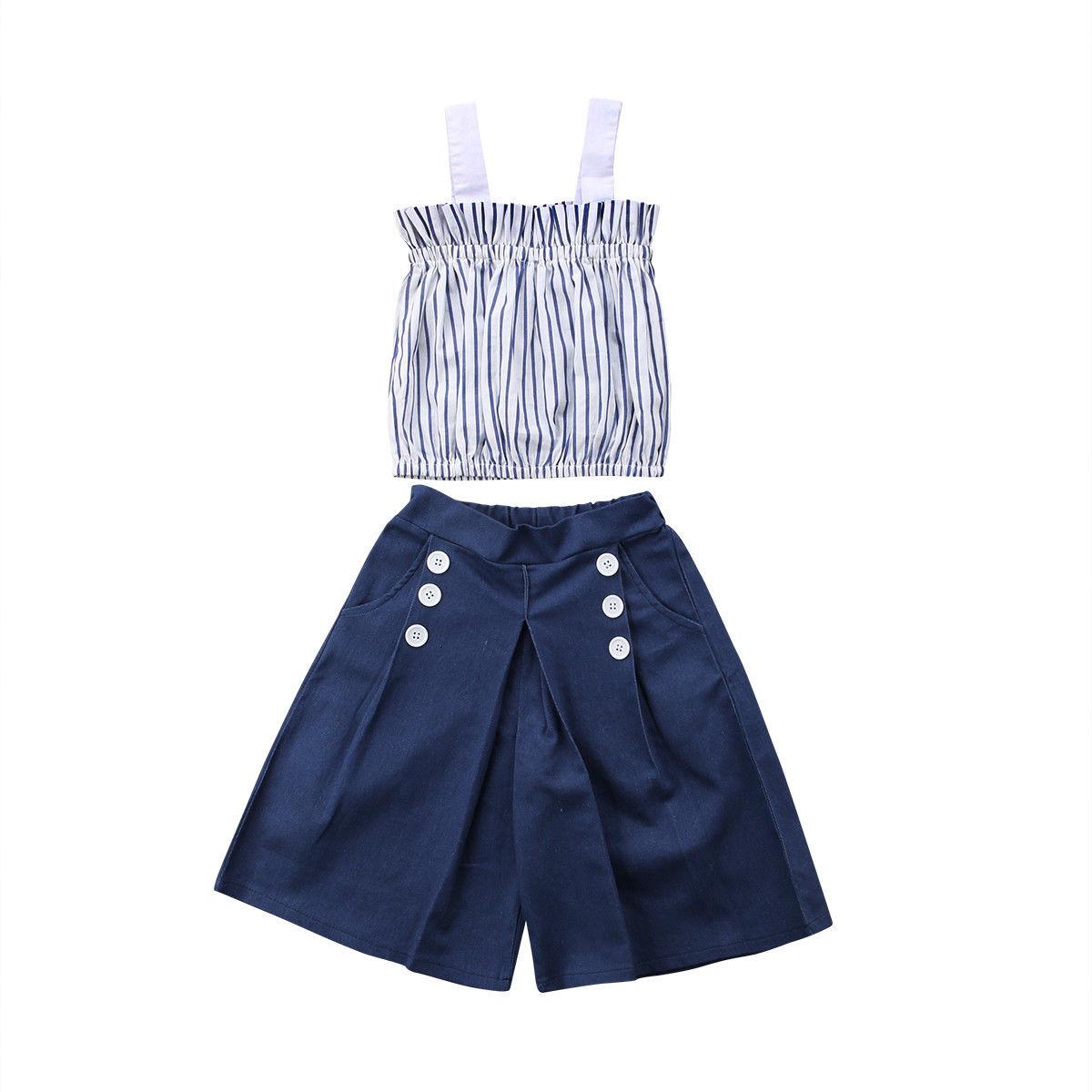 2PCS Toddler Kids Baby Girls Summer Clothes Striped Tops T-shirt Denim Skirt Set