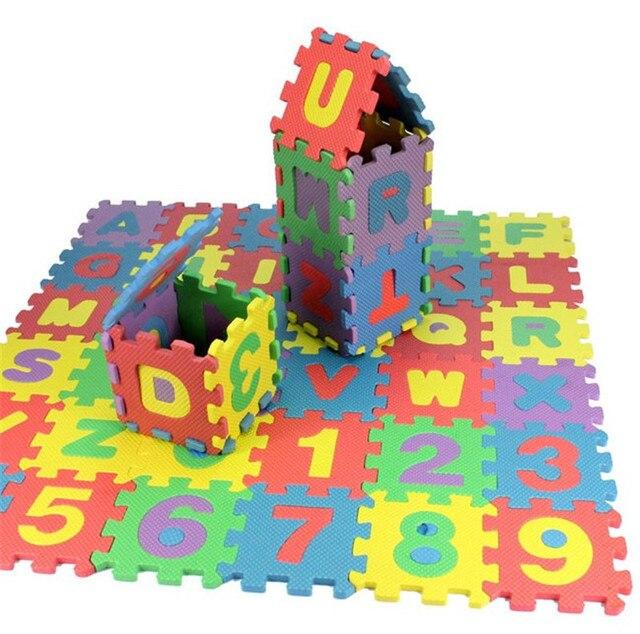 Niños mini EVA Foam Alfabeto Letras Números Piso Estera Suave Para Bebés Niños 3d rompecabezas juguetes Educativos 36 unids gundam playmobil