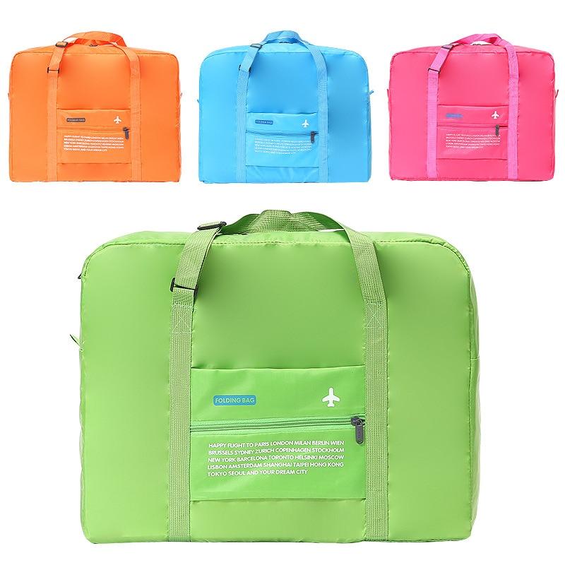 Suitcase Bag High Capacity Candy Color Folding Luggage Bag Air Plane Printed Addition Bag One Shoulder Storage Bag