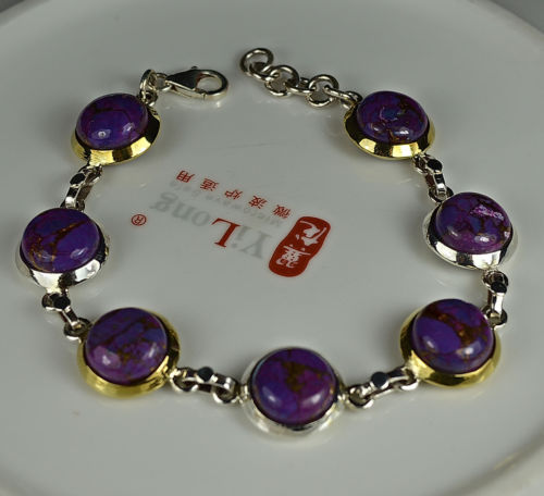 Feitas à mão Pulseira De Cobre Purple Turquesa 100% 925 Sterling Silver BR0059