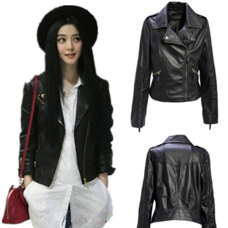High Quality Black PU Leather Motorcycle Jackets Womens Autumn Winter Mother Clothes 2017 Spring Ladies Zipper Outerwear Coats winer womens down jackets with hooded zipper bright black thick maternity clothes brand design ladies coats high quality outwear