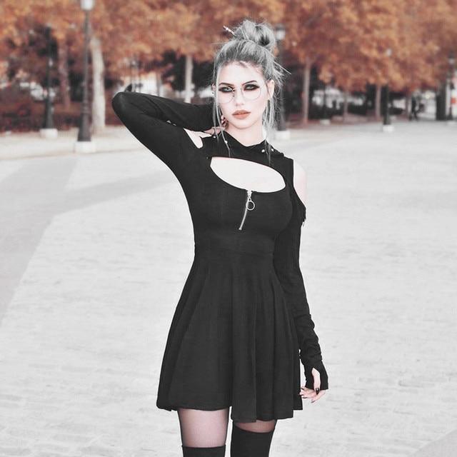 Women's Fashion Gothic Pure Color Hooded Low Cut Cold Shoulder Zippe Mini Dress vestido verano fashion summer clothes for women 1