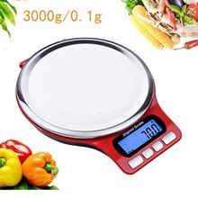 Stainless Steel Digital kitchen scale 3kg/0.1g high accuracy Food Weighing Scale with Blue LCD display