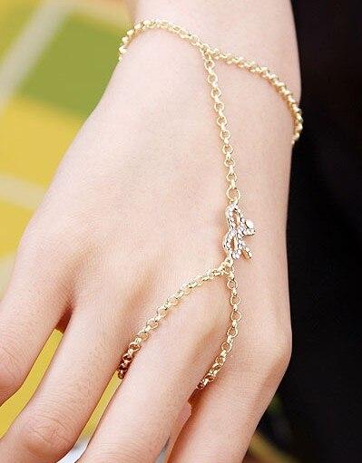 Women Gold Thin Metal Fashion Hand Chain Bracelet Wrist To Slave Ring Midi Bow Ribbon Knot