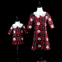 Mum Mama and Me Mother Daughter Dresses Autumn Plaid Clothes Lolita Princess Style Loose Large Size Mom Girls Embroidered Dress