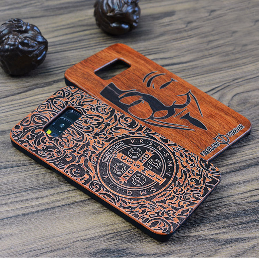 För Samsung s7 Träfodral Slim Natural Bamboo Carving Wooden Plastic - Reservdelar och tillbehör för mobiltelefoner