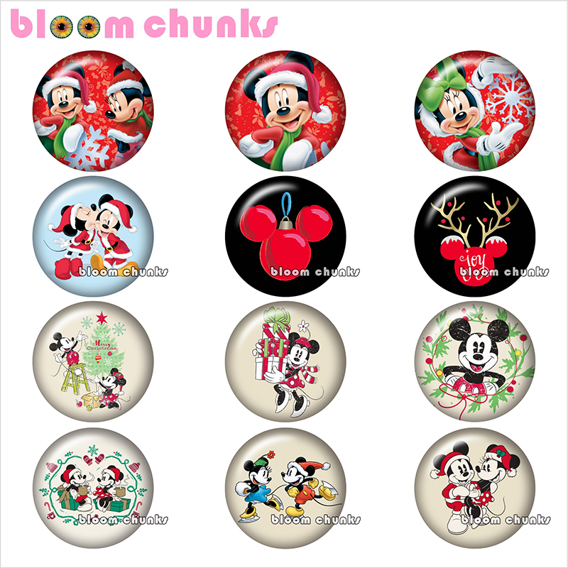 Findings Mouse Cabochon Photo Glass Flat-Back-Making Christmas Cartoon Round Demo TL1119