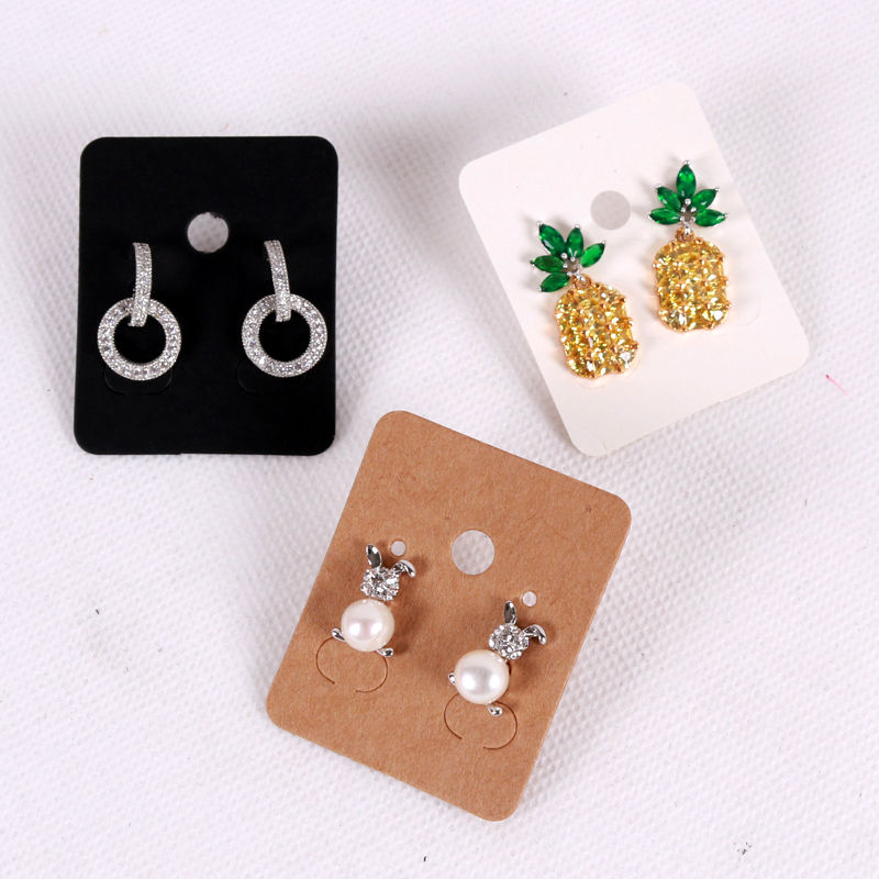 100Pcs 3.8*4.8cm Blank Kraft Paper Ear Studs Card Hang Tag Jewelry Display Earring Crads Favor Label Tag White Black Brown Color