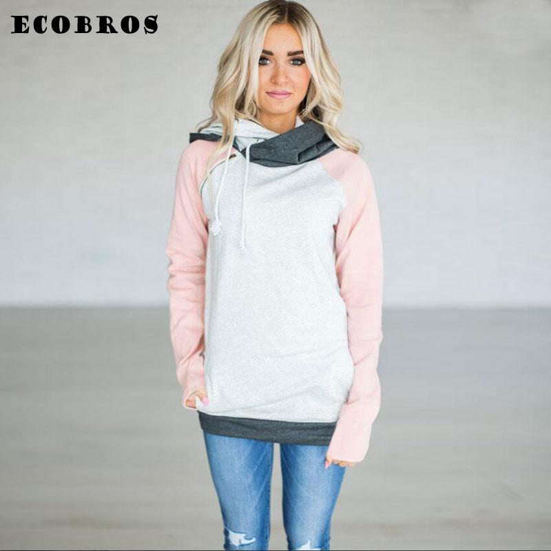 ECOBROS Autumn Winter Woman Sweatshirt hoodie with hat Casual slim patchwork zipper pullovers hoodies plus size