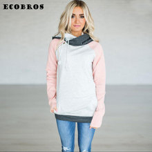 ECOBROS Autumn Winter Woman Sweatshirt hoodie with hat Casual slim patchwork zipper pullovers hoodies plus size ladies tracksuit