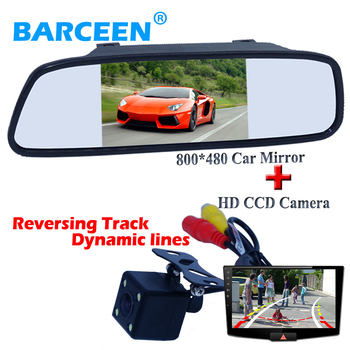 """Abs shell material 4 led car rear view  camera wire +Dynamic track line with black shell lcd 5"""" car monitor for all cars"""