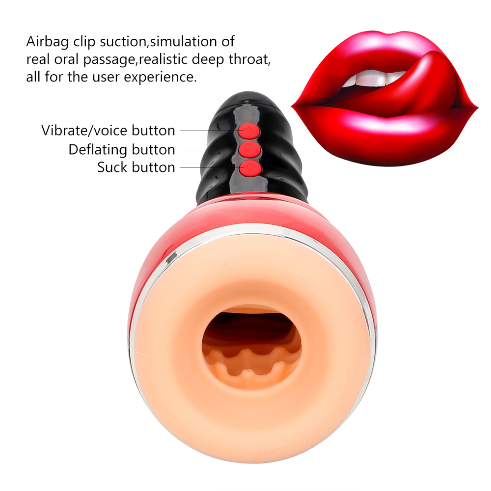 VATINE Real Oral Sucks Male Masturbation Cup Deep Throat Clip Suction Blowjob Sex Machine Sex Toys for Men Male Masturbator