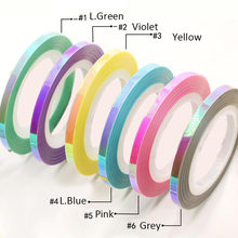 10Roll 1Mm 2Mm 3Mm Warna-warni Pelangi Stiker untuk Kuku Gel Polandia Stiker DIY Resin Kerajinan, hologram, Warna-warni Striping(China)