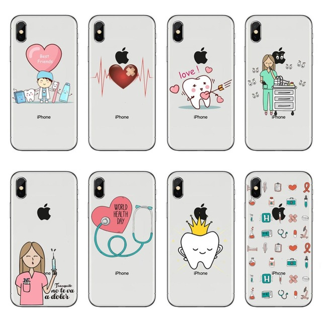 Lucu Kartun Peralatan Kedokteran Perawat Dokter Stetoskop Silikon Lembut Tpu Ponsel Case Untuk Iphone