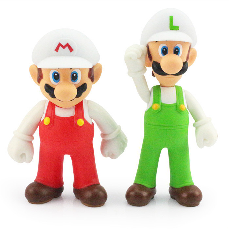 2pcs/lot 12cm Super Mario Bros White Hat Mario & Luigi PVC Action Figures Toys Doll Collection Model Toy for Kids Christmas Gift