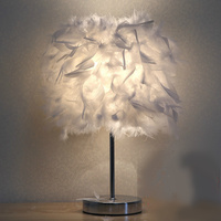 E27 Creative LED Abajur Bedroom Table Lamp Feather Bed Head Lamp Warm Girl Bedroom Bedside Lamp