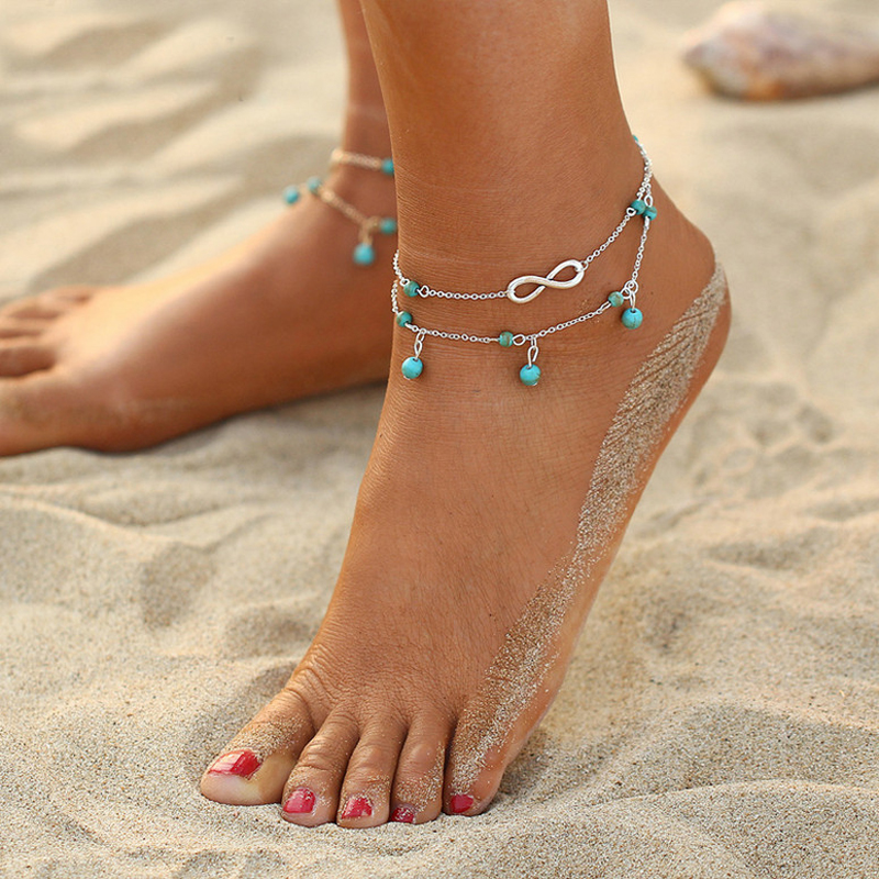 New Multilayer Turquoises Beads Pendant Anklet Foot Chain For Woman Summer Bracelet Charm 2 Color Anklets Foot Jewelry Gift
