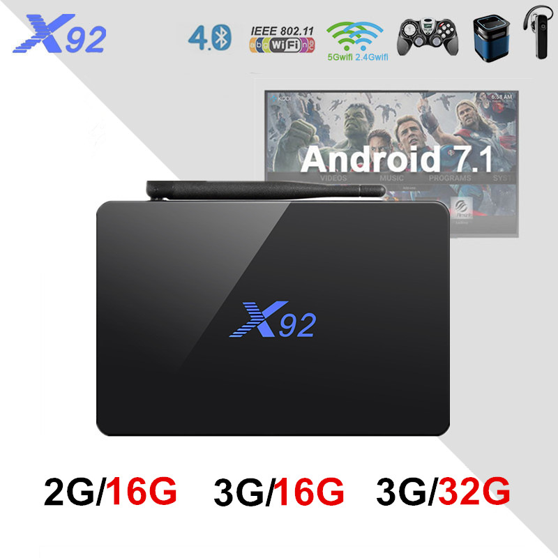 New X92 TV Box Android 7.1 Amlogic S912 Octa Core 2GB 3GB 16GB 32GB 5G Wifi 4K Bluetooth H.265 With USB 2.0 Set Top Box PK H96 original x92 3gb 32gb android 7 1 smart tv box amlogic s912 octa core kd player 4k h 265 bluetooth 4 0 set top box pk h96 max