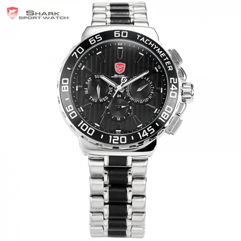 Blacknose Shark Sport Watch Brand Luxury Silver Steel Band Black Dial Auto Date 24 Hours Display Mens Quartz Watches Gift/SH380